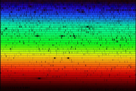 Espectro del Sol en el rango del visible (4000 a 7000 A). Crédito: Nigel Sharp, National Optical Astronomical Observatories/National Solar Observatory at Kitt Peak/Association of Universities for Research in Astronomy, and the National Science Foundation.