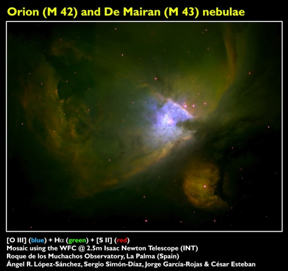 La fotografía adjunta, obtenida usando el Telescopio Isaac Newton en la isla de La Palma, muestra una de las imágenes más profundas obtenidas de la M 42. Aparte de su belleza, la imagen posee una gran utilidad científica: cada color nos está indicando la composición química y la temperatura del gas. En azul se observa sobre todo el oxígeno dos veces ionizado, dominante en el centro donde la temperatura es mayor por el efecto de las estrellas masivas. El color rojo indica la presencia de azufre una vez ionizado, localizado sobre todo en zonas externas con mayor densidad. En color verde se observa el hidrógeno una vez ionizado, predominante en toda la nebulosa. Las zonas oscuras indican regiones dominadas por polvo, que absorbe la emisión del gas. Crédito: Á.R.L-S, Sergio Simón-Díaz, Jorge García-Rojas y César Esteban.