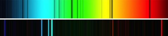 Comparación de un espectro estelar (Sol, arriba) y un espectro nebular (nebulosa de Orión, abajo). Los espectros estelares poseen líneas de absorción (bandas oscuras) sobre un continuo que sigue la forma de la emisión de un cuerpo negro (por eso se ven esas degradaciones en los extremos del espectro). En el espectro de la Nebulosa de Orión (M 42) sólo se ven líneas brillantes a longitudes de ondas muy concretas, sobre un fondo negro. Crédito: Espectro del sol por Chris North. Espectro de M42 por Keith Forbes.