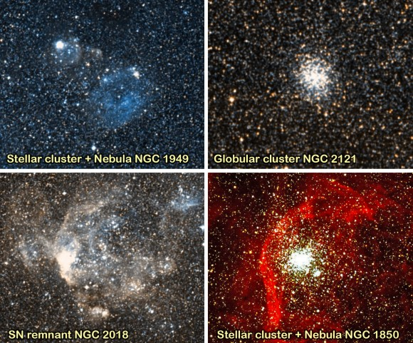 "Objects chosen for the ""LMC Little Gems with CACTI"" Outreach Exercise at the AAT. From top left to bottom right they are: 1. Stellar cluster + Nebula NGC 1949, 2. Globular cluster NGC 2121, 3. SN remnant NGC 2018, 4. Stellar cluster + Nebula NGC 1850. Credit of the images: Digital Sky Survey, except for the image of NGC 1850, credited to ESO (image obtained using the FORS1 instrument at the VLT)."