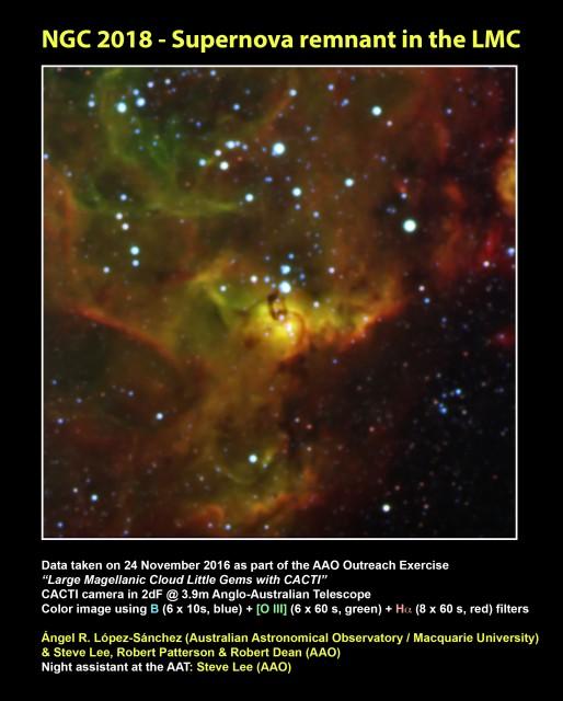 """NGC 2018: Resto de supernova en la Gran Nube de Magallanes.  Datos conseguidos el 24 de noviembre de 2016 como parte del ejercicio divulgativo """"Pequeñas joyas de la Gran Nube de Magallanes con CACTI"""", con la cámara CACTI en 2dF @ 3.9m Anglo-Australian Telescope.  Imagen en color obtenida con imágenes en filtros B (6 x 10s, azul), [O III] (6 x 60 s, verde) y Hα (8 x 60 s, rojo).  Crédito: Ángel R. López-Sánchez (Australian Astronomical Observatory / Macquarie University) & Steve Lee, Robert Patterson & Robert Dean (AAO) Operador de telescopio en el AAT: Steve Lee (AAO)."""
