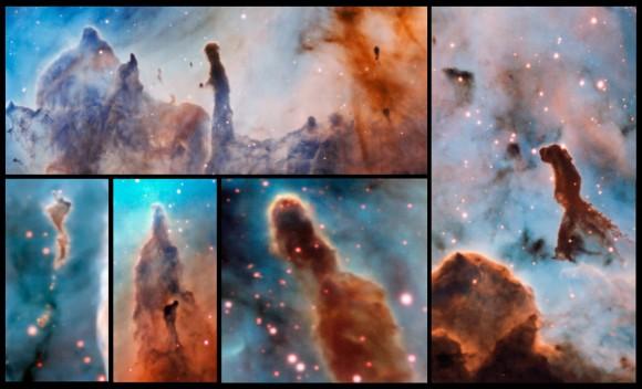 Esta composición muestra varios pilares en el interior de la nebulosa de Carina observados con el instrumento MUSE, instalado en el Very Large Telescope de ESO. Las estrellas masivas que están dentro de la región de formación estelar destruyen lentamente los pilares de polvo y gas de los que nacen. Crédito: ESO/A. McLeod